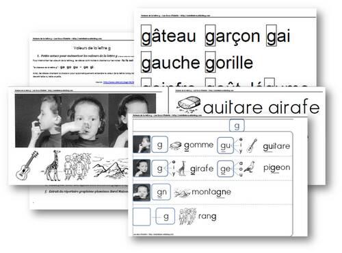 Valeurs de la lettre g