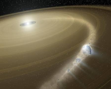 Une représentation d'artiste d'une jeune étoile entourée de son disque de débris. Une comète morcelée par un collision y est bien visible.