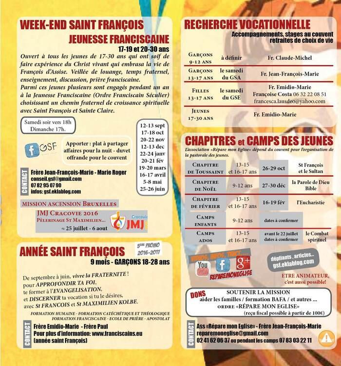 Activités Couvent St François 2015-2016