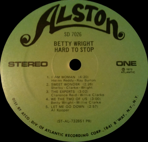 "Betty Wright : Album "" Hard To Stop "" Alston Records SD 7026 [ US ]"