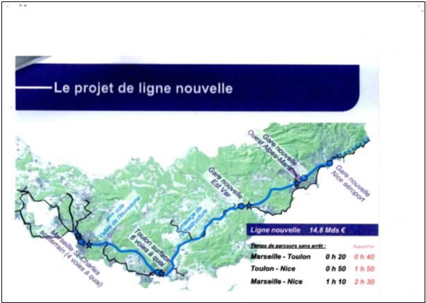 Quelle ligne ferroviaire nouvelle en Provence Alpes Cote d'Azur ? Note de synthèse de l'association TGV devt VNCA envoyée à la commission mobilité 21