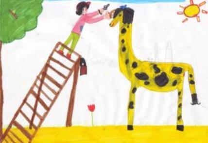 La girafe et le ver de terre.