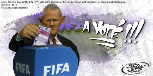 JERC 2016-03-01, caricature élection président FIFA, quand une organisation mafieuse fait croire qu'elle est démocratique !!! www.facebook.com/jercdessin Cliquer sur la photo pour voir en plus grand