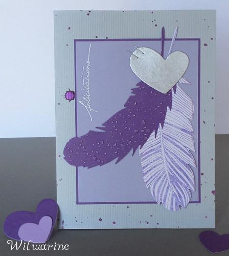 carte félicitations, mauve, blanc, gris, argenté, plumes, tâches, calque
