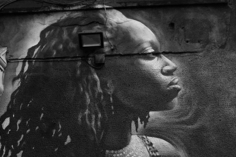 Street art à Londres Balade en N&B #171009