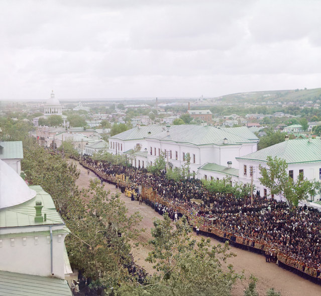 Photos by Sergey Prokudin-Gorsky. View from the bell tower of the Trinity cathedral (of the Trinity Monastery) on Cathedral Square in Belgorod, during the celebration of the canonization of Ioasaf of Belgorod, September 4, 1911. Russia, Kursk province, Belgorod town