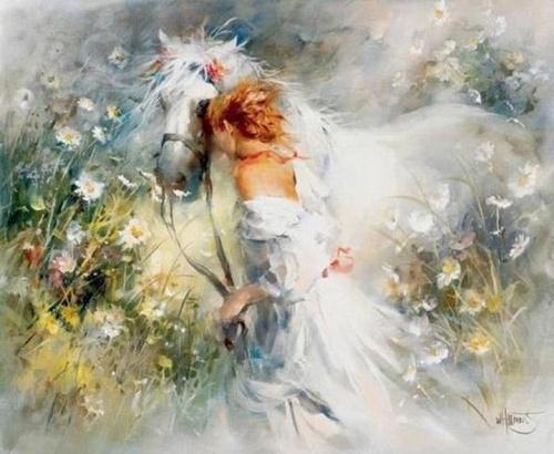 """"""" La Dame au cheval blanc """"de Willem HAENRAETS."""