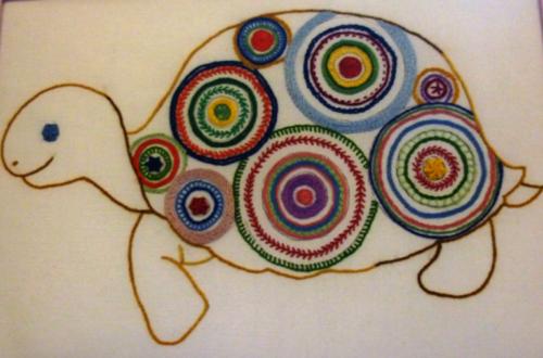 Odette cadres  tortue et petit cochon en broderie traditionnelle