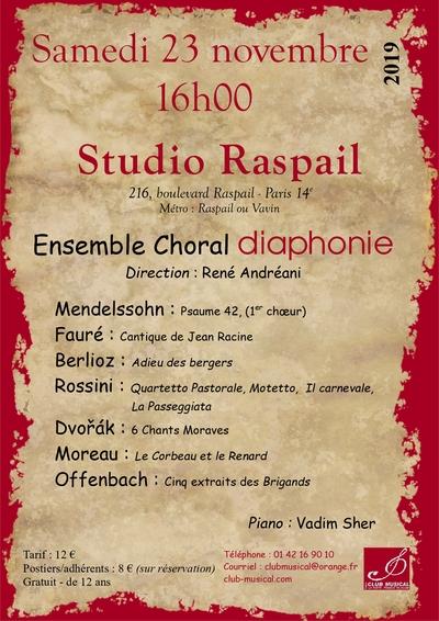 L'ensemble Choral diaphonie au Studio Raspail