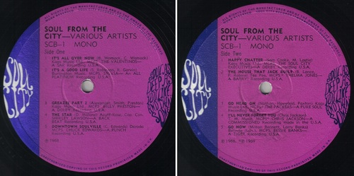 SOUL FROM THE CITY VOL 1 - SOUL CITY RECORDS UK