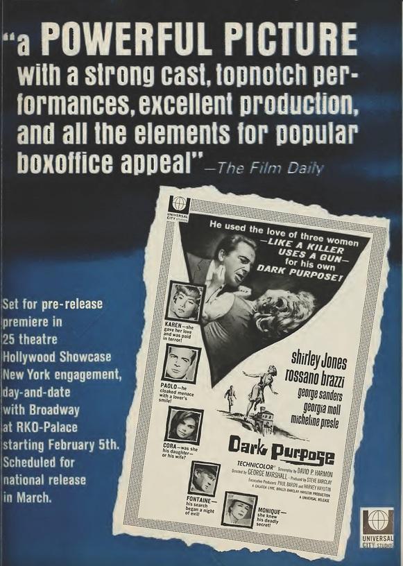 DARK PURPOSE BOX OFFICE USA 1964