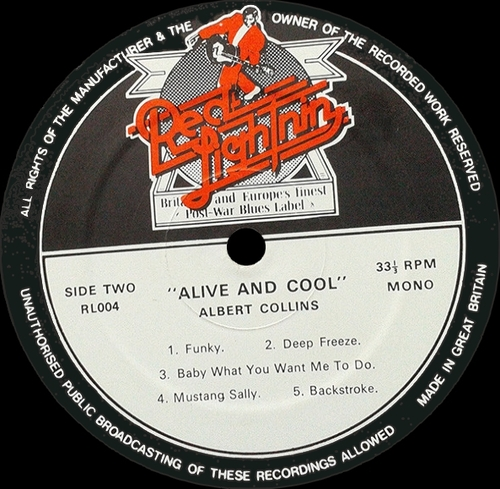 "Albert Collins : Album "" Alive & Cool "" Red Lightnin' Records RL 004 [ UK ]"