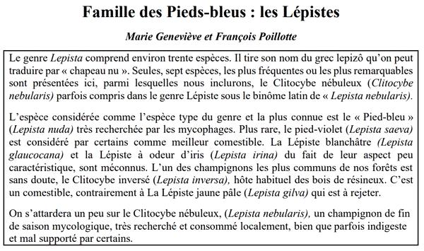 """""""La famille des """"Pieds-Bleus : les Lépistes"""""""