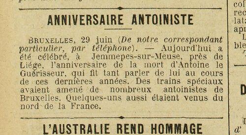 Anniversaire antoiniste (Excelsior, 30 juin 1913)
