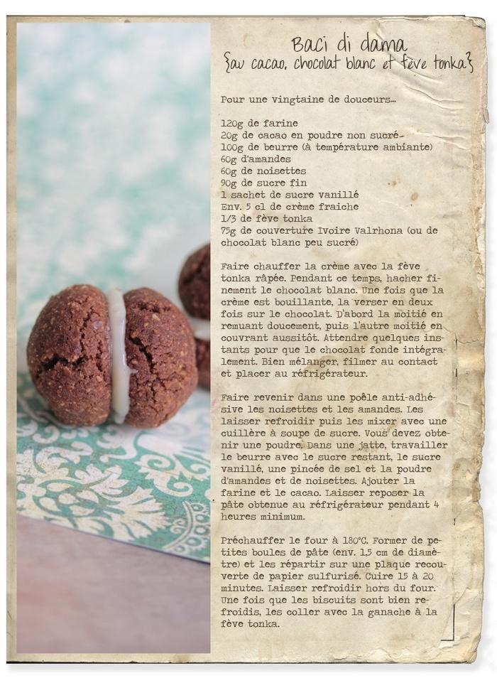 'Baci di dama' au cacao & ganache chocolat blanc, tonka