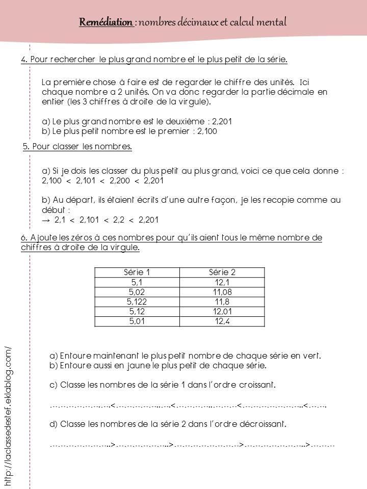Les décimaux (remédiation)