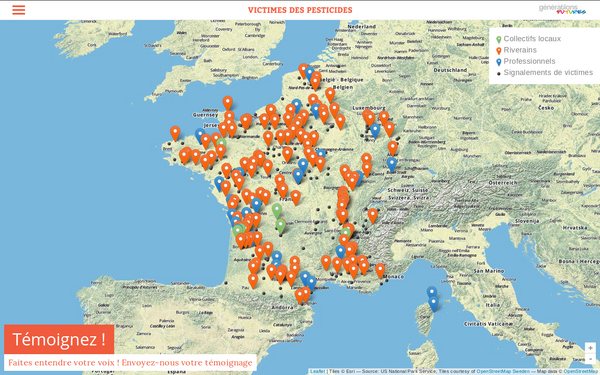 Carte de France des victimes de pesticides