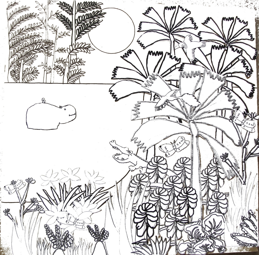 Fresque murale : Le jardin tropical