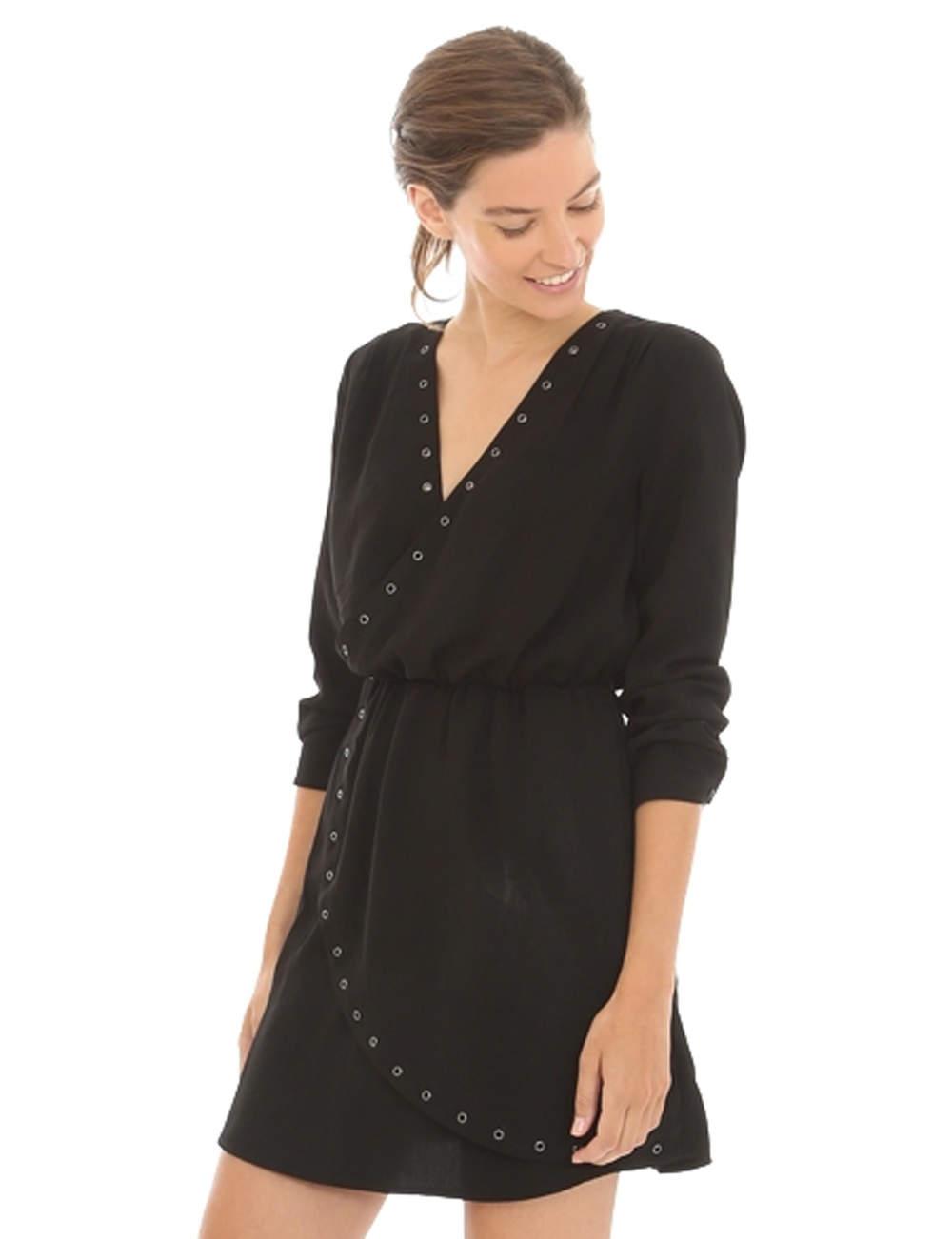 Robe noire : cache-cœur