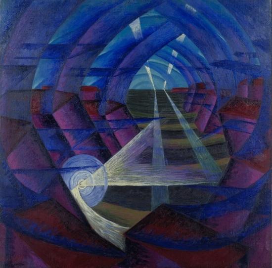 Luigi Russolo, Interpénétration de la lumière, d'une maison, 1912