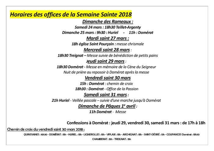 OFFICES de la SEMAINE SAINTE