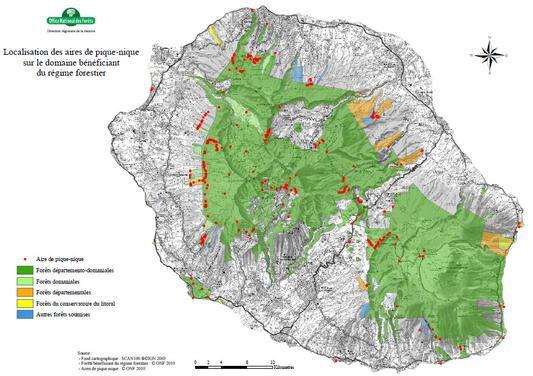 Carte des aires d'accueil situées sur le domaine géré par l'ONF à La Réunion