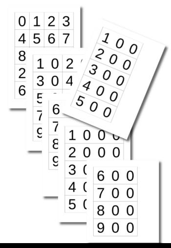 Cartes de 0 à 9999