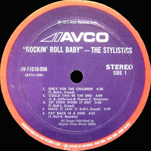 "The Stylistics : Album "" Rockin' Roll Baby "" Avco Records AV-11010-598 [ US ]"