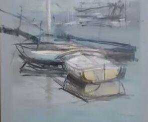 Dessin et peinture - vidéo 1632 : Le travail en atelier d'une marine peinte à l'huile.