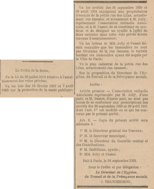 Jolly, rue du Pré Saint-Gervais (Bulletin municipal officiel de la Ville de Paris 20 oct 1931)