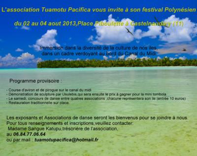 Blog de usulebis :Usulebis ,Artisan créateur de bijoux polynésiens , contact : usulebis@hotmail.fr, Festival Polynésien du 02 au 04 Aout à Castelnaudary