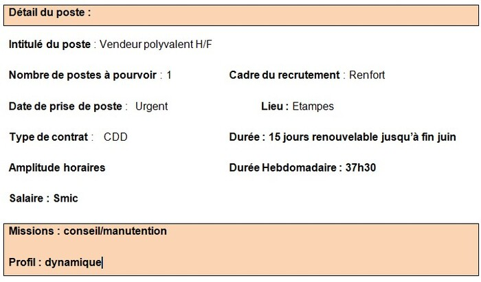 Offres d'emploi : Vendeur H/F & Hôte de caisse H/F