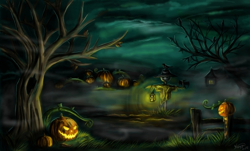Halloween 2 citrouilles et marécages