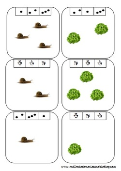 Des cartes à compter de 3 à 9, thème escargots