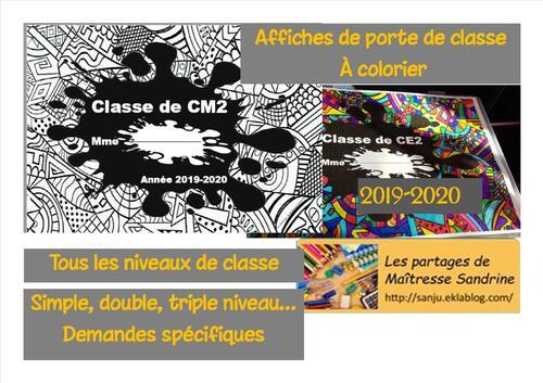 Affiches porte de classe à colorier 2019-2020