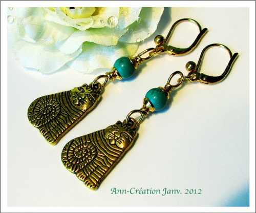 Boucles Dormeuses Chat / Turquoise Naturelle / Plaqué Or Gold plated