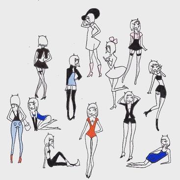 11 dessins colorés (personnages, frigos...)