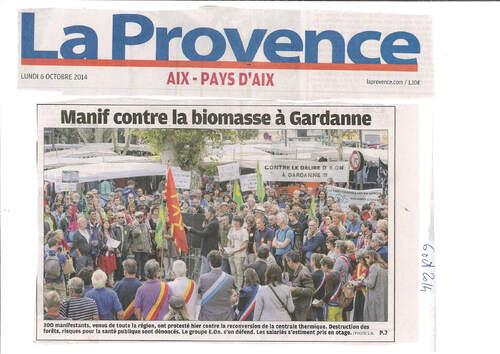 Gardanne, rassemblement du 5.10.14 contre EOn : revue presse et médias