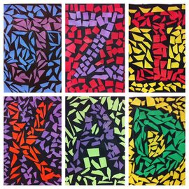 Initial Mosaics- 2nd grade- construction paper and glue