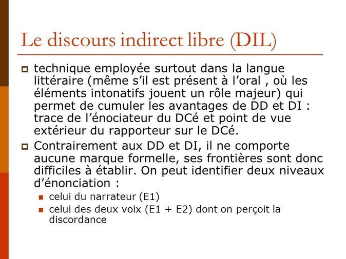 Le Discours Indirect Libre L Examen Normalise College Lycee