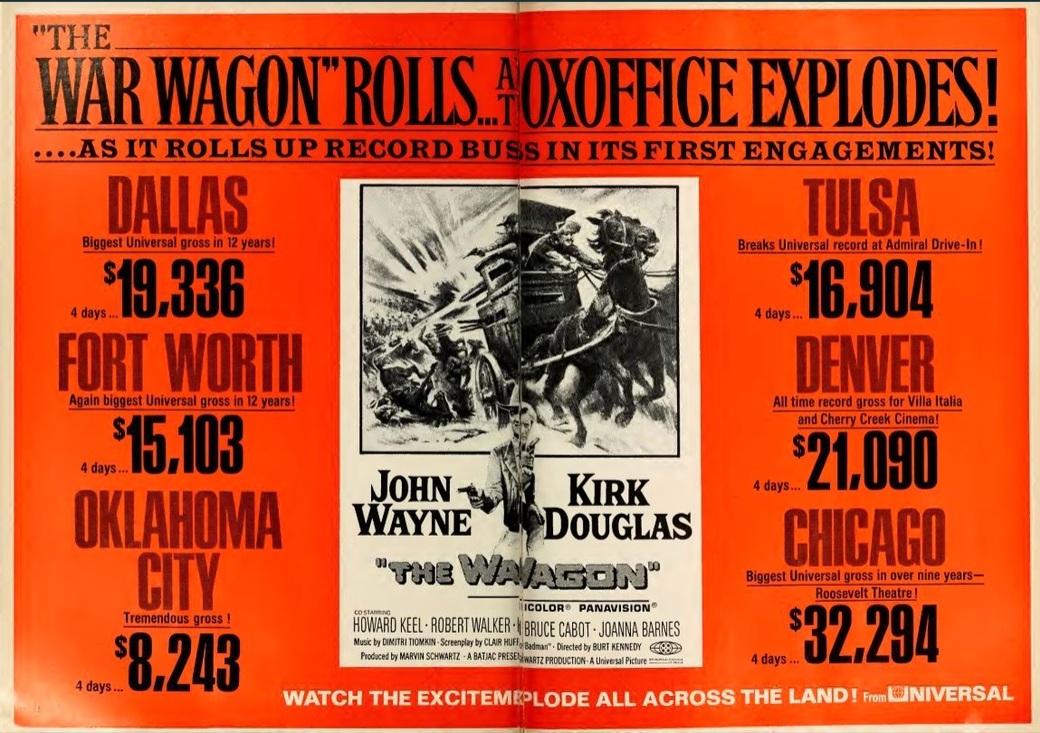 THE WAR WAGON BOX OFFICE USA 1967