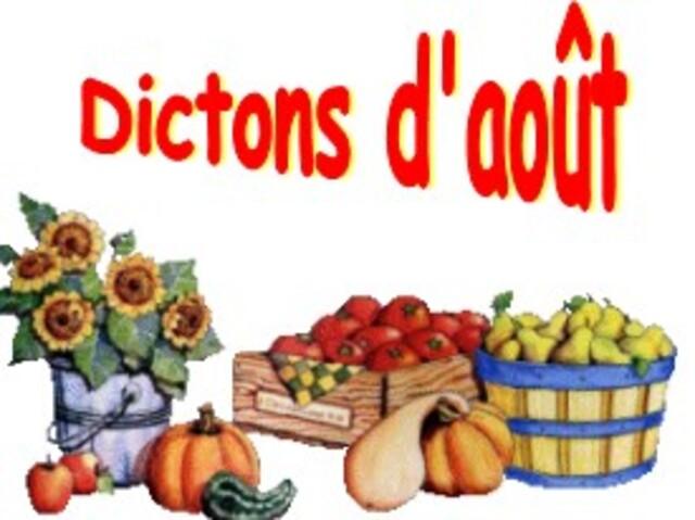 LES DICTONS DU MOIS D'AOUT