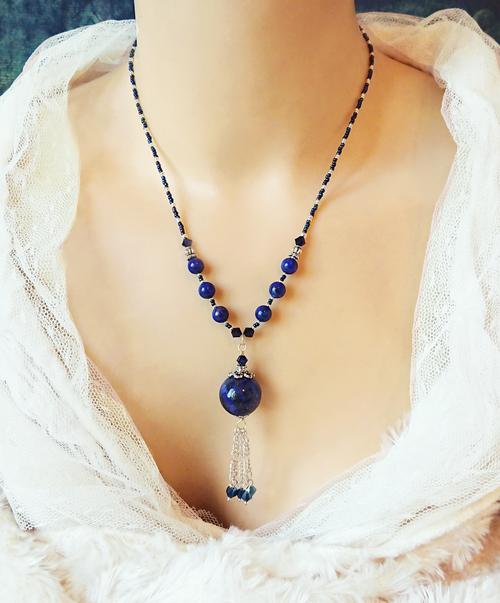 Collier Pendentif pierre de Lapis-Lazuli et cristal de Swarovski / Argent 925