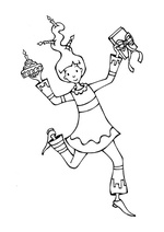 coloriage mascotte Plume & Fabulettes