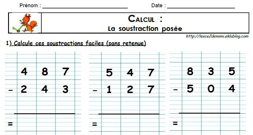 La soustraction pos e les ce2 de mimi - Les tables de soustraction a imprimer ...