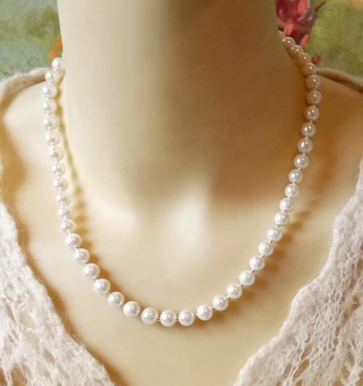 Collier ras de cou Perles de Verre nacré blanc crème / Plaqué argent