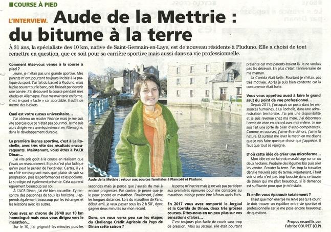 LU DANS LA PRESSE : AUDE DE LA METTRIE DU BITUME A LA TERRE