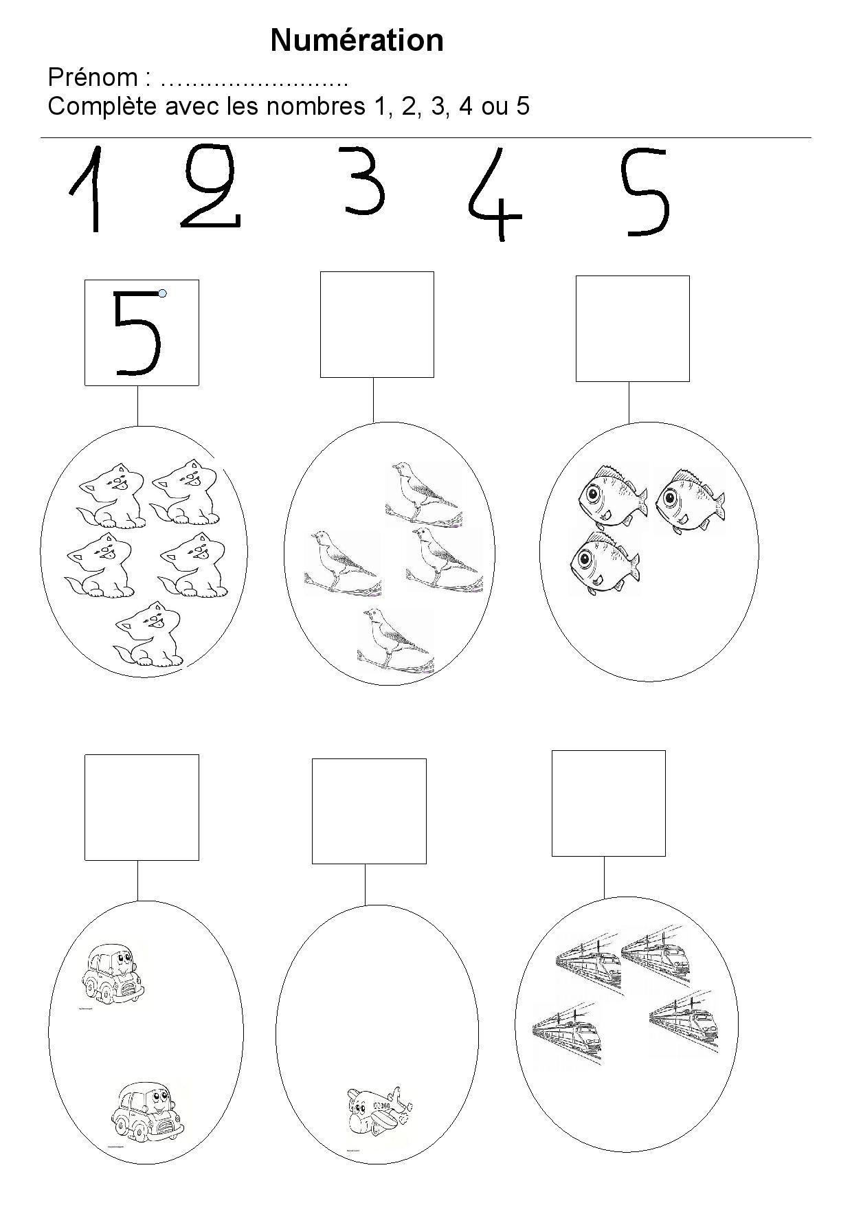 Extrêmement Maternelle : exercices sur les nombres - preprof FW69