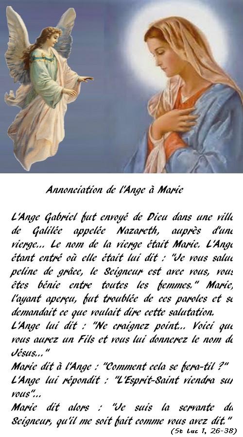 Annonciation à Marie par l'Ange Gabriel