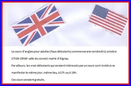 Le cours d'anglais gratuit commencera le à Aignay le Duc...